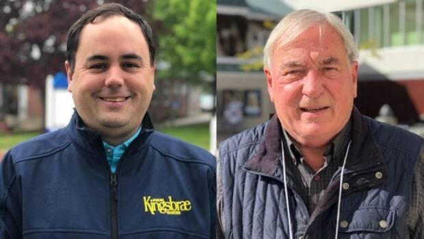 Brad Henderson (left) is the current deputy mayor of Saint Andrews, while Doug Naish is the incumbent mayor for the town. And they're both running for mayor. (CBC News - image credit)
