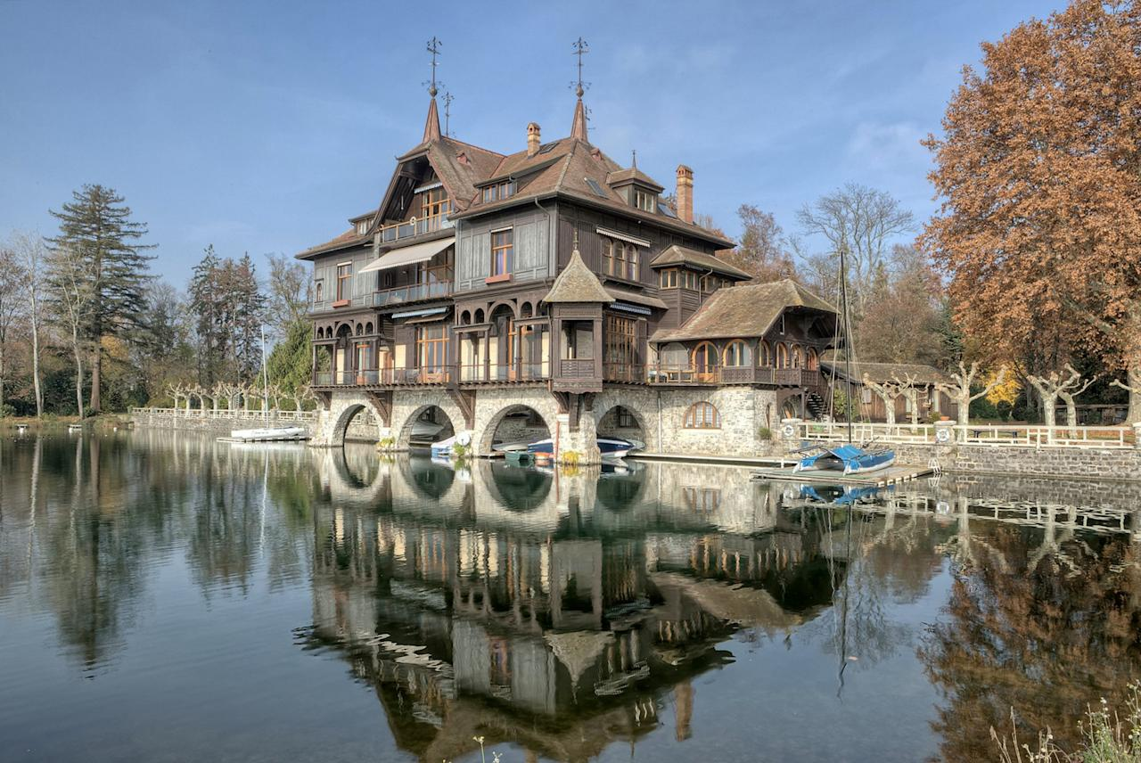 <p>The 14,000 sq/ft home on the north shore of Lake Geneva has four ballroom sized reception rooms, eight bedrooms, six bathrooms, multiple kitchens, a library, a study and separate staff accommodation. The design of the house, which overhangs the water, also allows for private mooring underneath the property itself. </p>