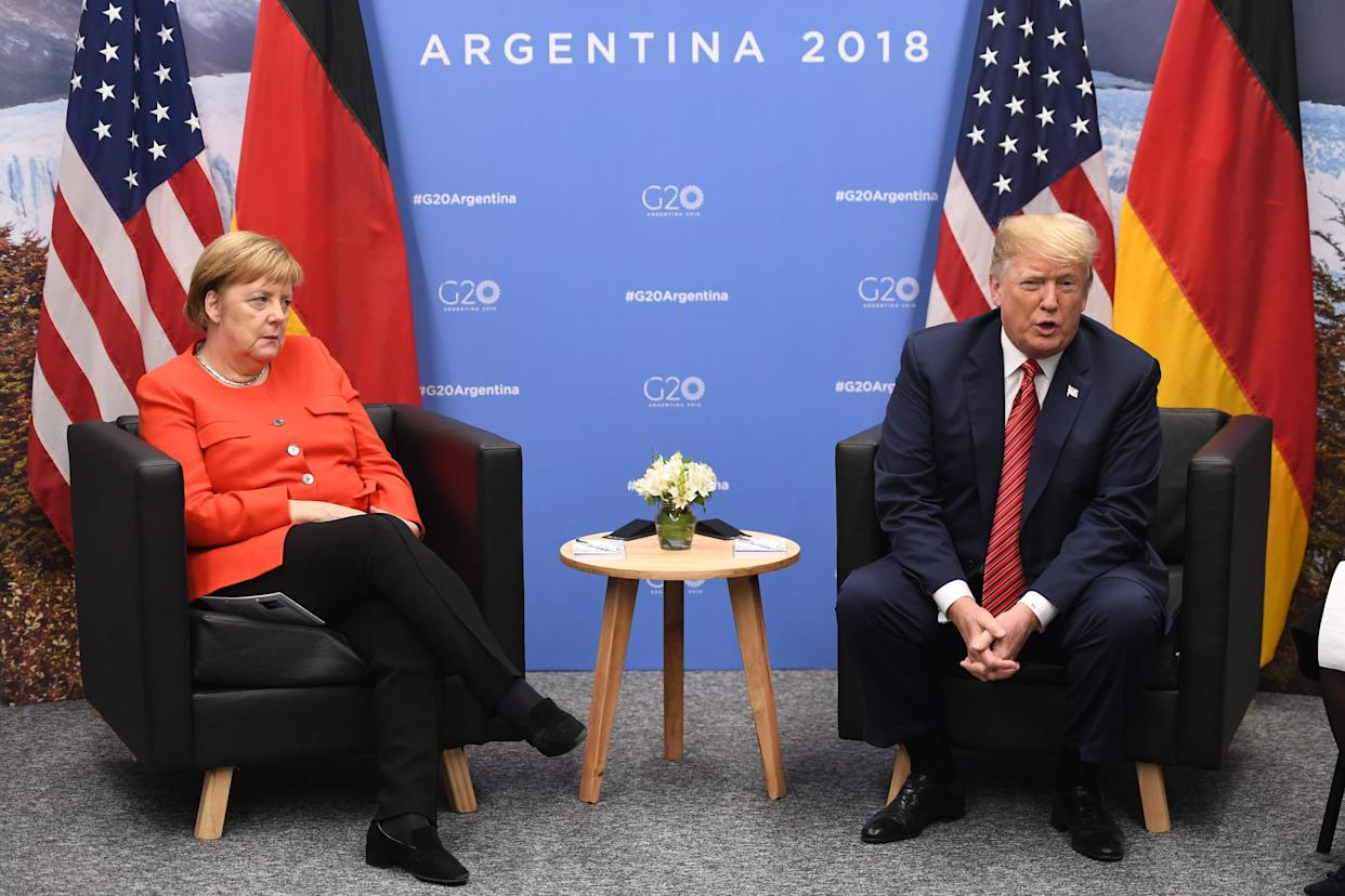 German Chancellor Angela Merkel, left, and President Donald Trump hold a bilateral meeting on the sidelines of the G20 Leaders' Summit in Buenos Aires on Dec. 01, 2018.