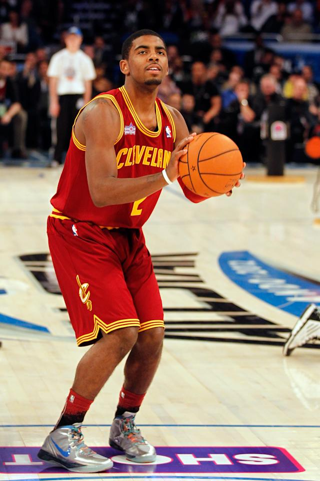 ORLANDO, FL - FEBRUARY 25:  Kyrie Irving of the Cleveland Cavaliers competes during the Taco Bell Skills Challenge part of 2012 NBA All-Star Weekend at Amway Center on February 25, 2012 in Orlando, Florida.  NOTE TO USER: User expressly acknowledges and agrees that, by downloading and or using this photograph, User is consenting to the terms and conditions of the Getty Images License Agreement.  (Photo by Mike Ehrmann/Getty Images)