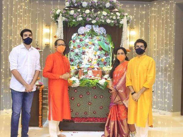 Chief Minister Uddhav Thackeray offers prayers to Lord Ganesha at his residence in Mumbai, on the occasion of Ganesh Chaturthi on Saturday. [Photo/ANI]