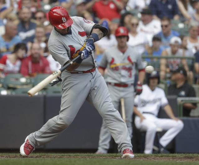St. Louis Cardinals' Yadier Molina hits a two-run home run during the sixth inning of a baseball game against the Milwaukee Brewers Saturday, June 23, 2018, in Milwaukee. (AP Photo/Morry Gash)