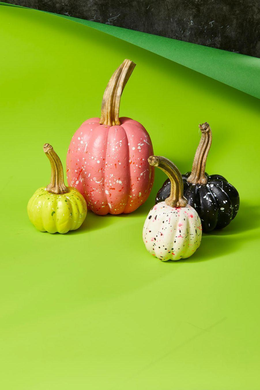"""<p>The perfect Halloween craft is one that's just as festive on October 31 as it is come Thanksgiving (that way, you can make the craft on one holiday and use it as a decoration on the next). Fortunately, there are a ton of crafts that fall into this category, such as these paint-splattered pumpkins. Simply paint pumpkins a solid color and then splatter a different color over it using a toothbrush.</p><p><strong>RELATED:</strong> <a href=""""https://www.goodhousekeeping.com/home/craft-ideas/how-to/g2257/creative-fall-craft-ideas/"""" rel=""""nofollow noopener"""" target=""""_blank"""" data-ylk=""""slk:64 Easy Fall Crafts That Celebrate All Autumn Has to Offer"""" class=""""link rapid-noclick-resp"""">64 Easy Fall Crafts That Celebrate All Autumn Has to Offer</a></p>"""
