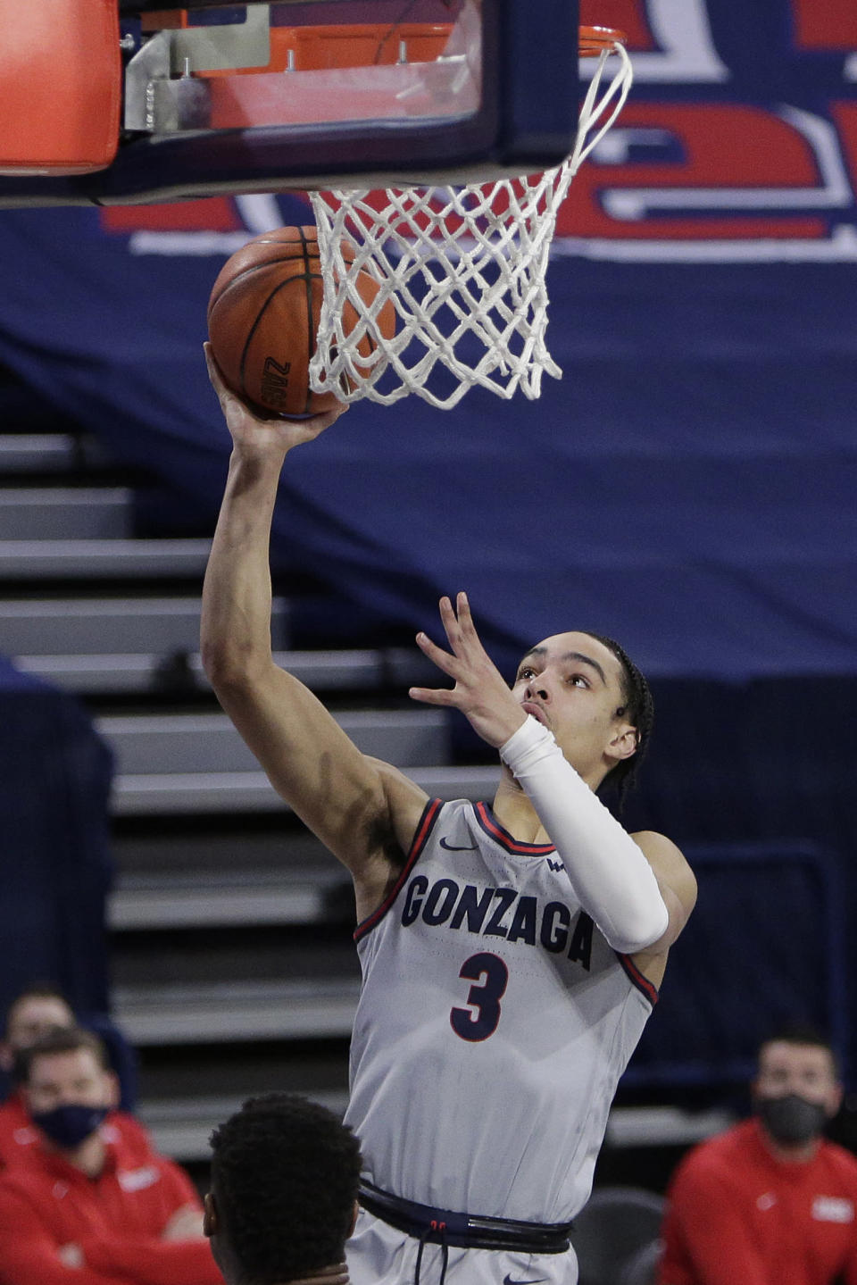 Gonzaga guard Andrew Nembhard shoots during the second half of the team's NCAA college basketball game against San Diego in Spokane, Wash., Saturday, Feb. 20, 2021. (AP Photo/Young Kwak)