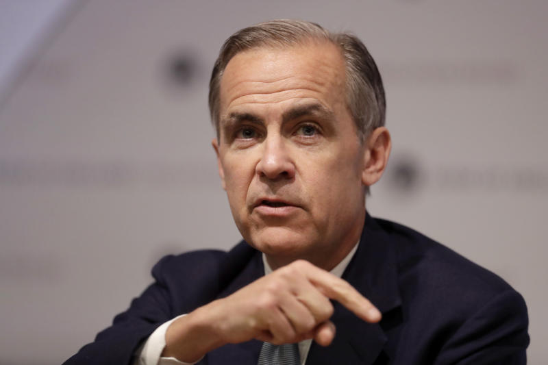 LONDON, ENGLAND - MAY 2: Governor of the Bank of England Mark Carney speaks during an Inflation Report Press Conference at the Bank of England on May 2, 2019 in London, England. (Photo by Matt Dunham - WPA Pool/Getty Images)