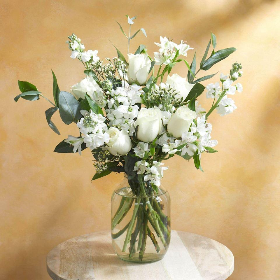 """<p>With sweet-smelling stocks and all-white stems, Maria makes the perfect duvet day companion.</p><p><a class=""""link rapid-noclick-resp"""" href=""""https://go.redirectingat.com?id=127X1599956&url=https%3A%2F%2Fwww.bloomandwild.com%2Fsend-flowers%2Fsend%2Fthe-maria%2F1199&sref=https%3A%2F%2Fwww.housebeautiful.com%2Fuk%2Flifestyle%2Fshopping%2Fg35318824%2Fbloom-wild-valentines-day-red-roses%2F"""" rel=""""nofollow noopener"""" target=""""_blank"""" data-ylk=""""slk:BUY NOW"""">BUY NOW</a></p>"""