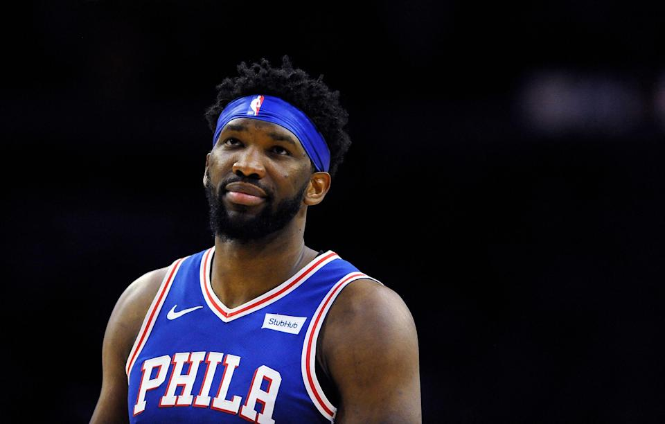 Philadelphia 76ers' Joel Embiid (21) in action during an NBA basketball game against the Brooklyn Nets, Thursday, March 28, 2019, in Philadelphia. The 76ers won 123-110. (AP Photo/Michael Perez)