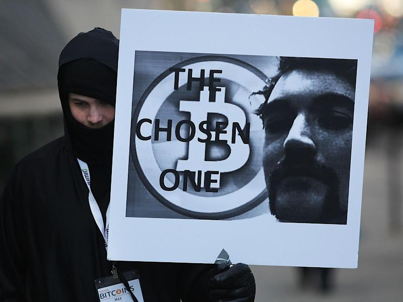 A supporter of Ross Ulbricht in front of a New York court house during the Silk Road founder's trial on 13 January, 2015: Getty Images