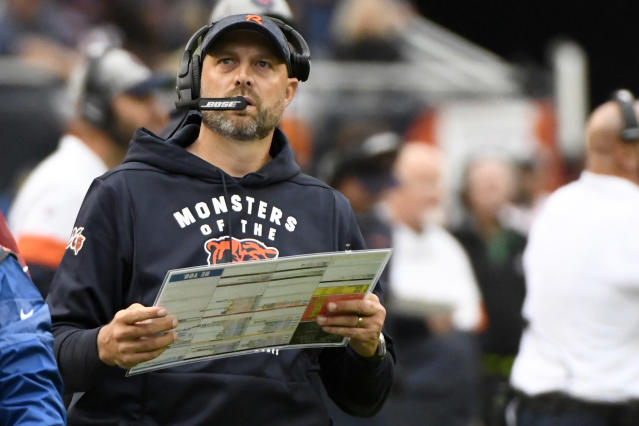FILE - In this Sept. 29, 2019, file photo, Chicago Bears head coach Matt Nagy watches from the sidelines during the first half of an NFL football game against the Minnesota Vikings, in Chicago. Nagy indicated quarterback Mitchell Trubisky might be ready to return against the Saints. But whether its him or Chase Daniel behind center, the Bears have to figure out a way to get their ground game going. (AP Photo/Matt Marton, File)
