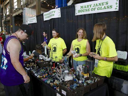"""Vendors and marijuana enthusiasts gather at at the """"Weed the People"""" event to celebrate the legalization of the recreational use of marijuana in Portland, Oregon July 3, 2015. REUTERS/Steve Dipaola"""