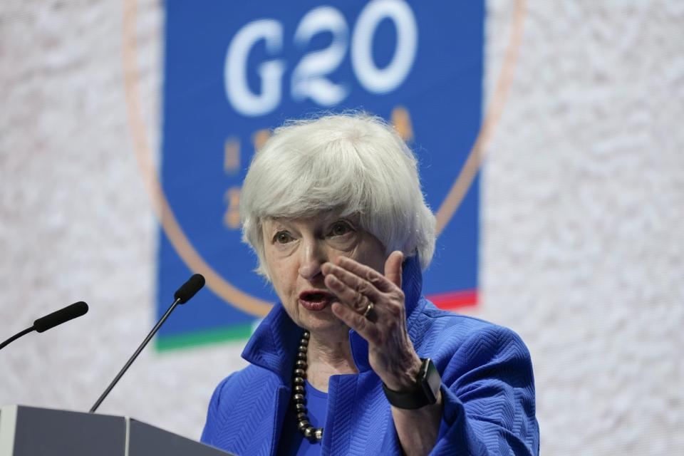 United States Secretary of the treasury Janet Yellen speaks during a press conference at a G20 Economy, Finance ministers and Central bank governors' meeting in Venice, Italy, Sunday, July 11, 2021. (AP Photo/Luca Bruno)