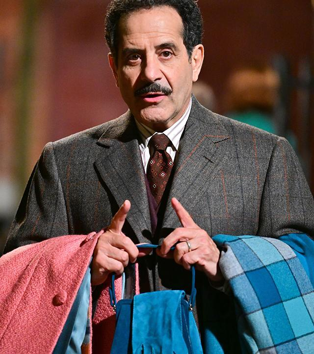 """Tony Shalhoub in character on the set of """"The Marvelous Mrs. Maisel: at Cherry Lane Theatre on May 27, 2021, in New York City. <span class=""""copyright"""">James Devaney/GC Images</span>"""