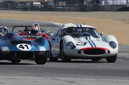 Derek Hill, son of Formula 1 champ Phil Hill, about to take the lead and go on to win in a 1962 Maserati Tipo 151 in 2015