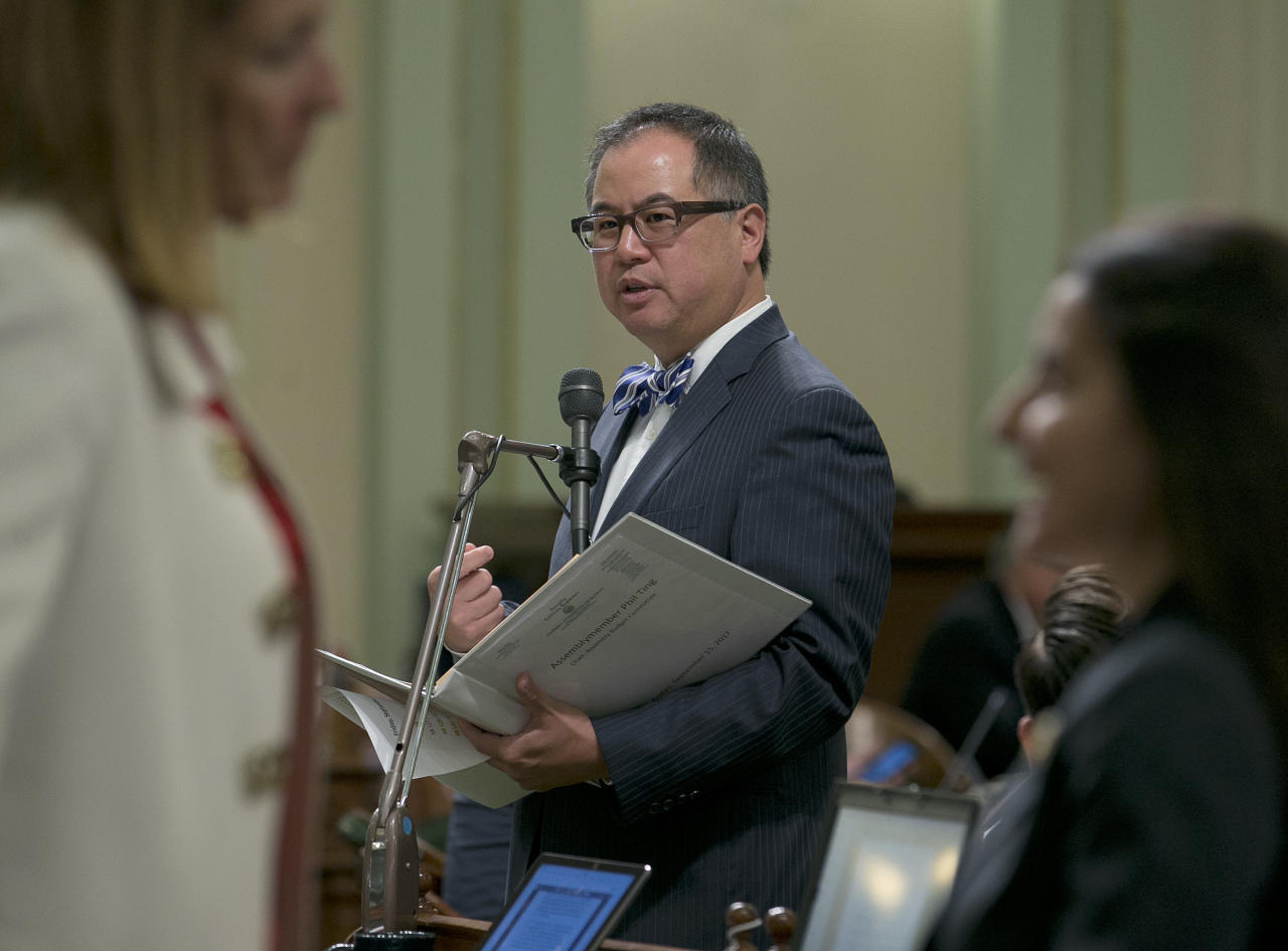 In this Sept. 15, 2017, photo, assemblyman Phil Ting, D-San Francisco, urges lawmakers to approve a measure to spend $1.5 billion on environmental initiatives to use money from the state's recently renewed program that charges polluters to emit greenhouse gases in Sacramento, Calif. The Legislature approved the bill, and sent it to the governor. (AP Photo/Rich Pedroncelli)