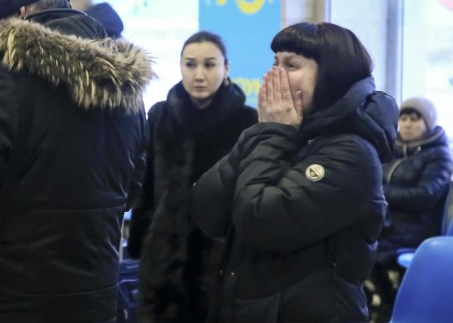 <p>In this video grab provided by the ORSK.RU web site, Relatives and friends of those on the Saratov Airlines airline plane An-148 flight that crashed near Moscow's airport Domodedovo react while gathering at an airport outside Orsk, Russia, Feb. 11, 2018. (Orsk.ru via AP) </p>