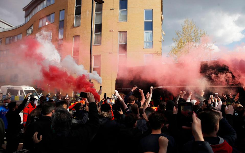 Arsenal fan protests - Reuters