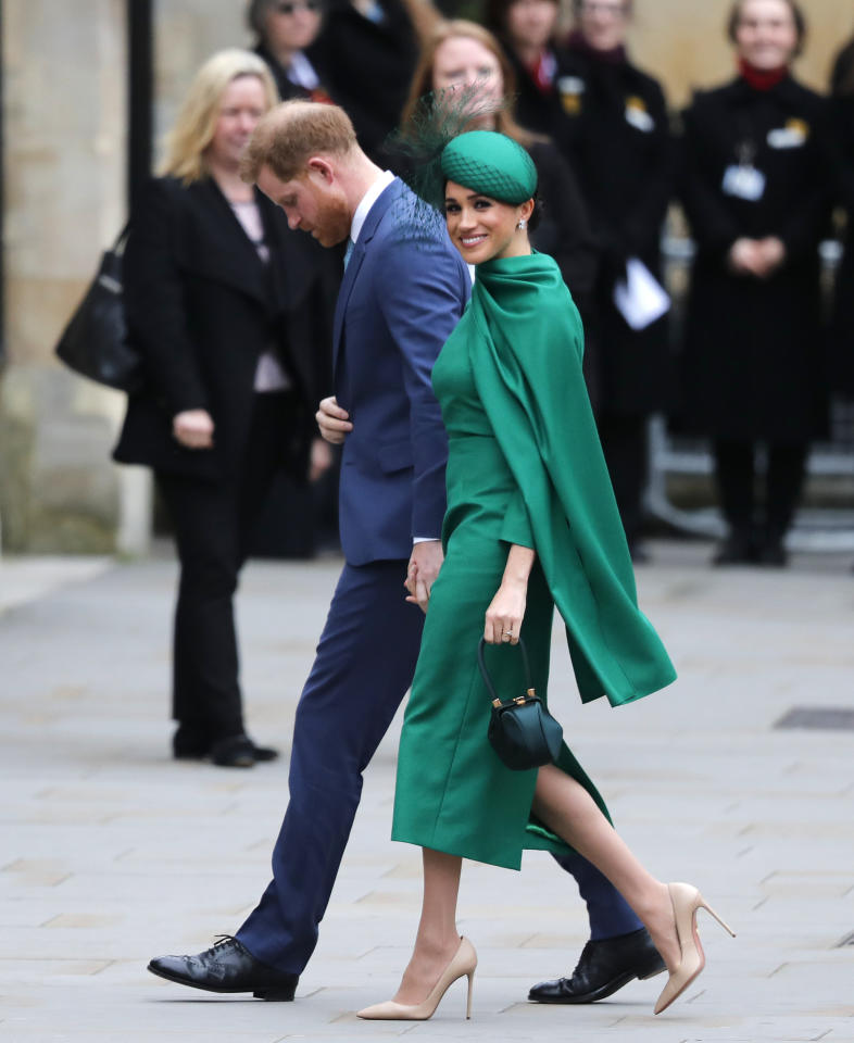 Britain's Prince Harry and Meghan, Duchess of Sussex arrive to attend the annual Commonwealth Day service at Westminster Abbey in London, Monday, March 9, 2020. The annual service organised by the Royal Commonwealth Society, is the largest annual inter-faith gathering in the United Kingdom. (AP Photo/Frank Augstein)