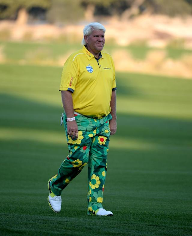 DOHA, QATAR - JANUARY 22: John Daly of the USA during the first round of the Comercial Bank Qatar Masters at the Doha Golf Club on January 22, 2014 in Doha, Qatar. (Photo by Ross Kinnaird/Getty Images)