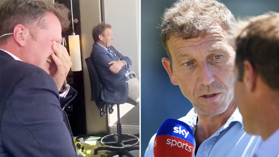 Mike Atherton, pictured here after being stitched up in commentary.