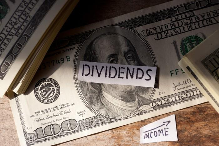 A file tab that says dividends on top of a one hundred dollar bill.
