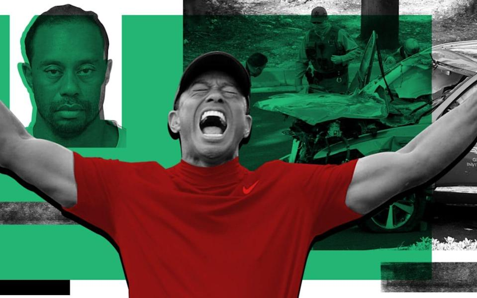 Collage of Tiger Woods images