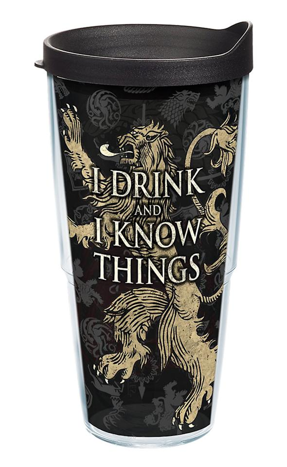 """Sip coffee on your commute to work or enjoy some wine during next week's episode — this insulated tumbler is perfect for all of your favorite drinks.  <b>Buy It! </b>Game of Thrones House Lannister Insulated Travel Tumbler, $21.99; <a rel=""""nofollow"""" href=""""https://www.amazon.com/Tervis-1241845-Game-Thrones-Lannister/dp/B074KS3N37/ref=as_li_ss_tl?ie=UTF8&linkCode=ll1&tag=polifegameofthronesgiftsmerchandiseamazonjmattern0419-20&linkId=07f212c2eff80cb000d6d5982e815ed0&language=en_US"""">amazon.com</a>"""