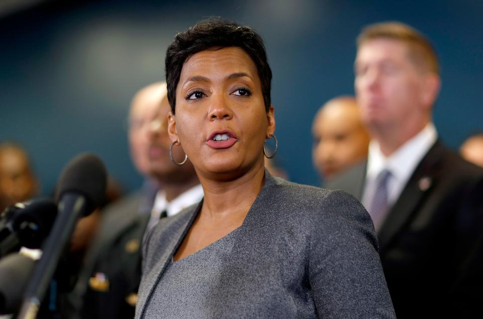 FILE-In this Thursday, Jan. 4, 2018, file photo, Atlanta Mayor Keisha Lance Bottoms speaks at a press conference in Atlanta. Bottoms says the city continues to operate despite ongoing troubles caused by a cyberattack on its computer network last week. (AP Photo/David Goldman, File)