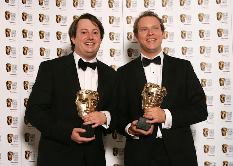 LONDON - MAY 20: Actors David Mitchell (L) and Robert Webb pose with the Best Comedy Programme Award for 'That Mitchell and Webb Look' in the awards room at the British Academy Television Awards at the Palladium on May 20, 2007 in London, England. (Photo by Dave Hogan/Getty Images)