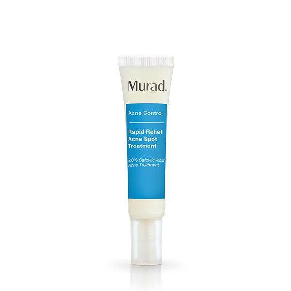 "<p><a rel=""nofollow"" href=""https://www.feelunique.com/p/Murad-Rapid-Relief-Spot-Treatment-15ml"">Shop now</a> <br></p><p>"" I love Murad Rapid Relief Spot Treatment - a fast-acting, invisible gel that penetrates pores to visibly reduce the size and redness of spots within 4 hours. It has 2% Salicylic Acid, which works to exfoliate the surface layer of skin to clear out excess oil, bacteria and dead cells from pores. It also has a blend of Thyme and Pine extracts helps to combat irritation, while horse chestnut and oat provide soothing properties to calm the area.""</p><p><strong>- Nichola Joss, Celebrity <a rel=""nofollow"" href=""http://www.nicholajoss.com/"">Facialist</a>.</strong></p>"