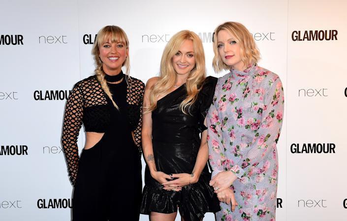 Sara Cox (left), Fearne Cotton (centre) and Lauren Laverne (right) in the press room at the Glamour Women of the Year Awards 2017, Berkeley Square Gardens, London. (Photo by Ian West/PA Images via Getty Images)
