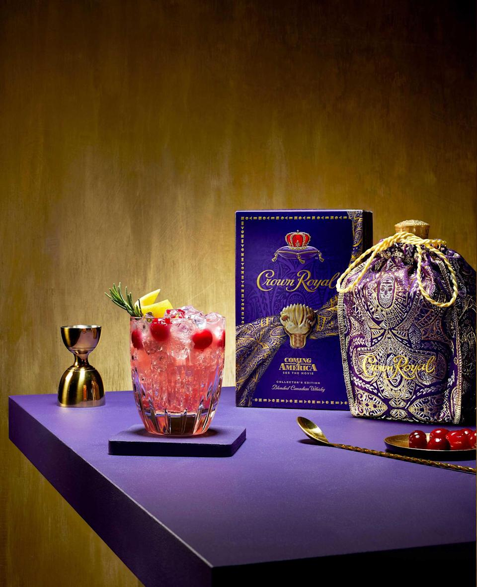 Enjoy the delicious Crown Royal Ruby Rumble cocktail while watching the Coming 2 America movie premiere on March 5th.