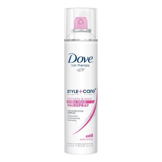 """<p>If you're looking for a shiny, not-wet hold, then opt for <a href=""""https://www.popsugar.com/buy/Dove-StyleCare-Strength-amp-Shine-Hairspray-588632?p_name=Dove%20Style%2BCare%20Strength%20%26amp%3B%20Shine%20Hairspray&retailer=walmart.com&pid=588632&price=5&evar1=bella%3Aus&evar9=30490550&evar98=https%3A%2F%2Fwww.popsugar.com%2Fphoto-gallery%2F30490550%2Fimage%2F30491254%2FHairspray-Dove-StyleCare-Strength-Shine-Hairspray&list1=hair%2Cmakeup%2Cbeauty%20products%2Cdove%2Chairspray%2Cbeauty%20shopping%2Cdrugstore%20beauty%2Cskin%20care&prop13=api&pdata=1"""" class=""""link rapid-noclick-resp"""" rel=""""nofollow noopener"""" target=""""_blank"""" data-ylk=""""slk:Dove Style+Care Strength &amp; Shine Hairspray"""">Dove Style+Care Strength &amp; Shine Hairspray</a> ($5), which dries fast without leaving behind a crispy finish.</p>"""