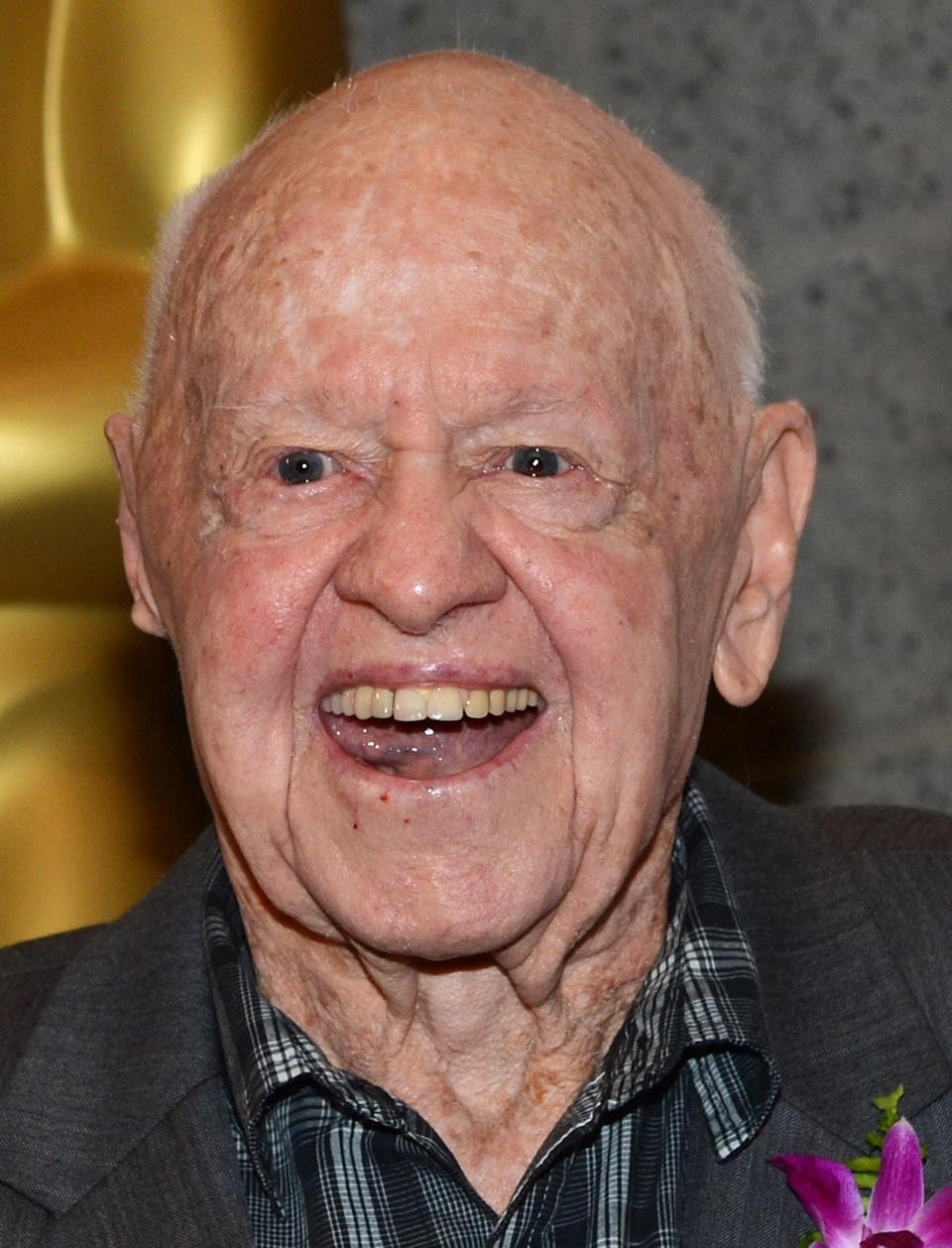 """BEVERLY HILLS, CA - JULY 09: Actor Mickey Rooney arrives at The Academy of Motion Pictures Arts and Science's """"The Last 70mm Film Festival"""" Screening Of """"It's A Mad, Mad, Mad, Mad World"""" at AMPAS Samuel Goldwyn Theater on July 9, 2012 in Beverly Hills, California. (Photo by Michael Buckner/Getty Images)"""