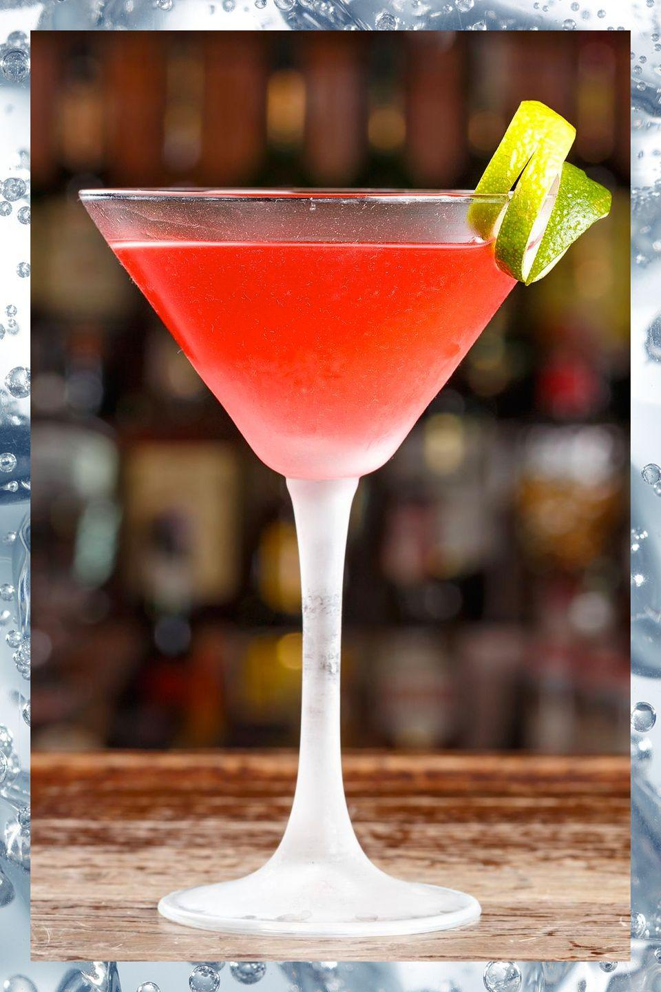 <p>The cosmo became almost ubiquitous in the '90s thanks to the TV show <em>Sex and the City</em>, but this spin on the martini remains just as tasty today as when Carrie Bradshaw made it famous. </p><p>- 1.5 oz citrus vodka<br>- 1 oz Cointreau <br>- .5 oz lime juice<br>- .25 oz cranberry juice</p><p><em>Build all ingredients in a shaker tine with ice and shake. Strain into a martini glass and garnish with lime wheel or zest. </em></p>