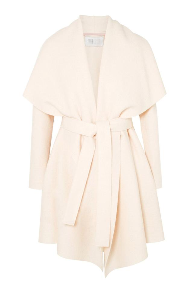 "<p><a rel=""nofollow"" href=""https://www.net-a-porter.com/gb/en/product/1076134/harris_wharf_london/belted-wool-felt-coat"">SHOP</a></p><p>Meghan wore a white dressing gown coat for the <a rel=""nofollow"" href=""https://www.harpersbazaar.com/uk/bazaar-brides/g13932803/prince-harry-and-meghan-markles-engagement-photocall-in-pictures/"">official engagement announcement at Kensington Palace</a>, from Toronto label Line. Their website is coming soon, but in the meantime, Harris Wharf London has an almost identical design. </p><p><em>Wool-felt coat, £370, Harris Wharf London at Net-A-Porter </em><br></p>"