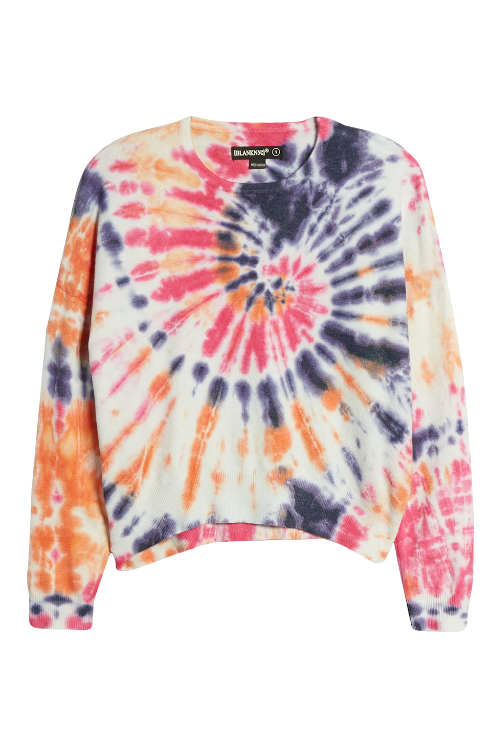 """<br><br><strong>Blank NYC</strong> Rainbow Tie-Dye Crop Sweater, $, available at <a href=""""https://go.skimresources.com/?id=30283X879131&url=https%3A%2F%2Fwww.nordstrom.com%2Fs%2Fblanknyc-rainbow-tie-dye-crop-sweater%2F5504890%3Forigin%3Dkeywordsearch-personalizedsort%26breadcrumb%3DHome%252FAll%2520Results%26color%3D650"""" rel=""""nofollow noopener"""" target=""""_blank"""" data-ylk=""""slk:Nordstrom"""" class=""""link rapid-noclick-resp"""">Nordstrom</a>"""