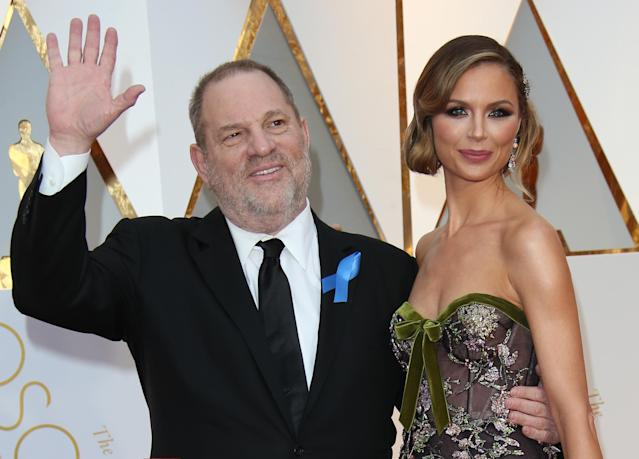 Harvey Weinstein and Georgina Chapman at the 2017 Oscars. (Photo: Getty Images)