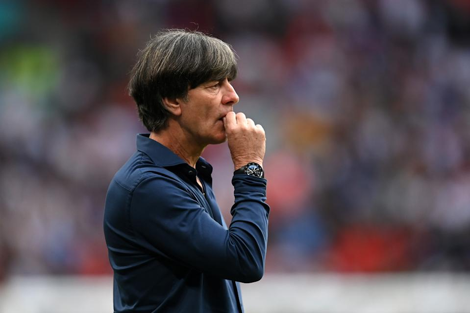 LONDON, ENGLAND - JUNE 29: Joachim Loew, Head Coach of Germany reacts during the UEFA Euro 2020 Championship Round of 16 match between England and Germany at Wembley Stadium on June 29, 2021 in London, England. (Photo by Shaun Botterill - UEFA/UEFA via Getty Images)