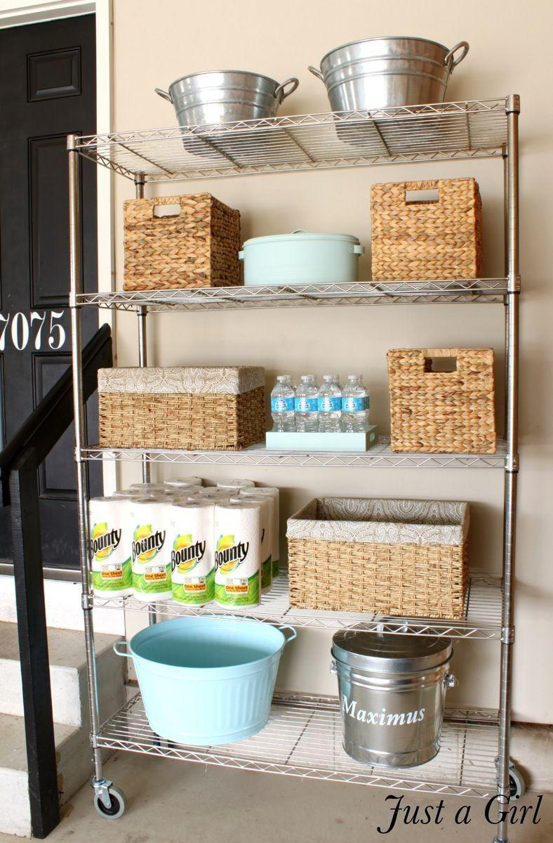 """<p>Decorative baskets, galvanized buckets that match her nearby trash cans, and spray-painted containers created a cohesive vibe that wasn't too formal (or precious) for this working space.</p><p><em><a href=""""http://www.justagirlblog.com/organized-garage-shelves-lowes-creator/"""" rel=""""nofollow noopener"""" target=""""_blank"""" data-ylk=""""slk:See more at Just a Girl »"""" class=""""link rapid-noclick-resp"""">See more at Just a Girl »</a></em></p><p><strong>What you'll need: </strong><span class=""""redactor-invisible-space"""">wicker baskets, $25 for a 2-pack, <a href=""""https://www.wayfair.com/Wayfair-Basics%E2%84%A2-Wayfair-Basics-Woven-Hyacinth-Storage-Basket-Set-WFBS1270.html"""" rel=""""nofollow noopener"""" target=""""_blank"""" data-ylk=""""slk:wayfair.com"""" class=""""link rapid-noclick-resp"""">wayfair.com</a></span><br></p>"""