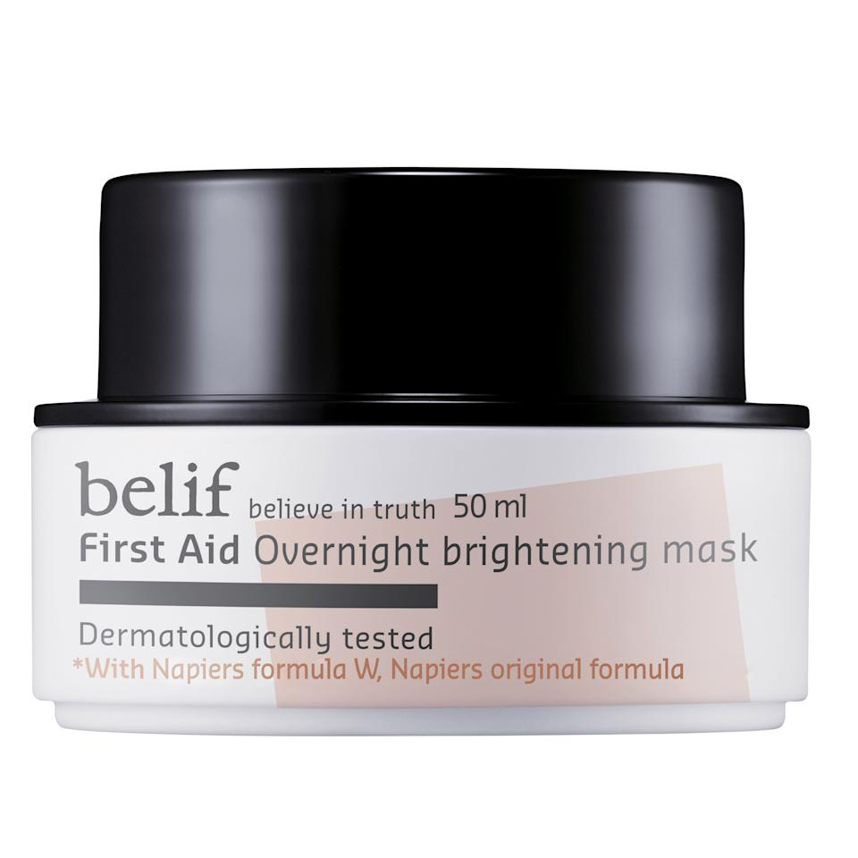 "<p>Just like the Korean beauty brand's other hydrating heavy-hitters, this lightweight mask is sure to supple up skin, thanks to moisturizing oat seeds, while pearl brings the sheen, leaving you with a radiant complexion long after you hit snooze.</p> <p>Belif First Aid Overnight Brightening Mask, $30, <a rel=""nofollow"" href=""http://www.sephora.com/first-aid-overnight-brightening-mask-P394641?mbid=synd_yahoobeauty"">sephora.com</a></p>"