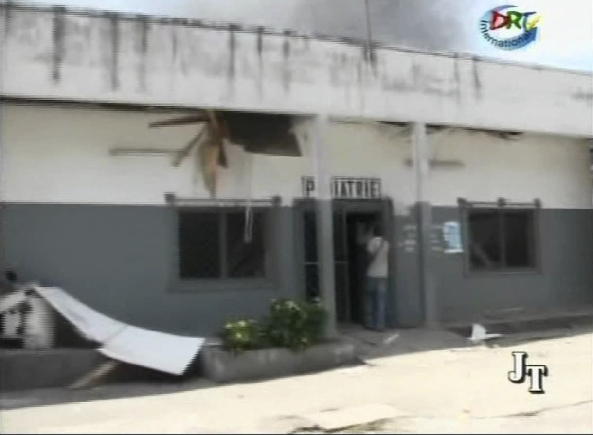 This video image made from DRTV shows damage to the exterior of a hospital after blasts rocked Brazzaville, the capital of the Republic of Congo Sunday March 4, 2012 after a weapons depot caught fire. Officials in the Congo said an unknown numbers of people were killed and wounded and some 2,000 people were forced to flee their homes. The explosions shook houses in Brazzaville and echoed across the Congo River to the capital of the neighboring country. (AP Photo/DRTV) REPUBLIC OF CONGO OUT