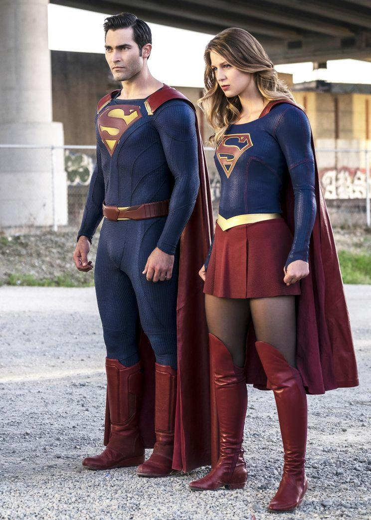 Tyler Hoechlin as Superman and Melissa Benoist as Supergirl (Credit: Diyah Pera/The CW)