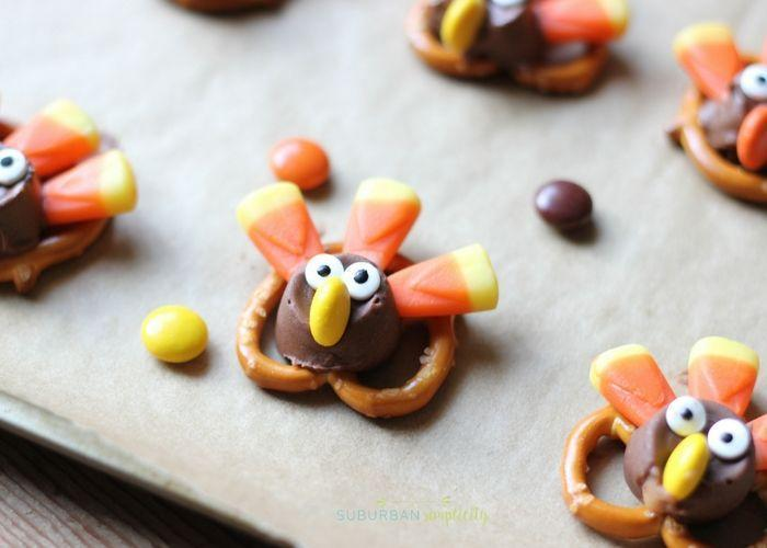 "<p>Follow <a href=""https://www.suburbansimplicity.com/adorable-candy-pretzel-turkey-bites/"" rel=""nofollow noopener"" target=""_blank"" data-ylk=""slk:Suburban Simplicity"" class=""link rapid-noclick-resp"">Suburban Simplicity</a>'s lead and make a bite-sized snack that looks just like a turkey. The finished product is basically an extravagant chocolate-covered pretzel—the head is a Rolo and the beak is an M&M!</p><p><a class=""link rapid-noclick-resp"" href=""https://www.amazon.com/Snyders-Hanover-Mini-Pretzels-Ounce/dp/B085PKJJ99/?tag=syn-yahoo-20&ascsubtag=%5Bartid%7C1782.g.33808794%5Bsrc%7Cyahoo-us"" rel=""nofollow noopener"" target=""_blank"" data-ylk=""slk:BUY NOW"">BUY NOW</a> <em><strong>Snyder's pretzels, $7.44</strong></em></p>"