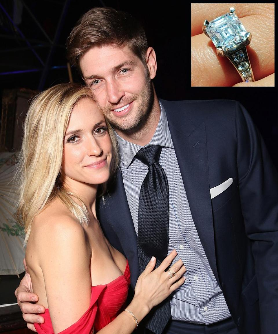 <p>Chicago Bears quarterback Jay Cutler proposed to former reality TV star Kristin Cavallari in 2011 with a 5.2-carat square-cut diamond set atop a channel-set diamond band. The couple married in 2013.</p>
