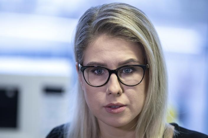 FILE - In this Jan. 16, 2020, file photo, Russian opposition activist Lyubov Sobol speaks during her interview for the Associated Press in Moscow, Russia. Sobol, a top associate of Russian opposition leader Alexei Navalny, was detained Friday, Dec. 25, 2020, on allegations of violent trespassing after she tried to doorstep an alleged security operative, whom Navalny had previously duped into describing details of his alleged poisoning. (AP Photo/Pavel Golovkin, File)