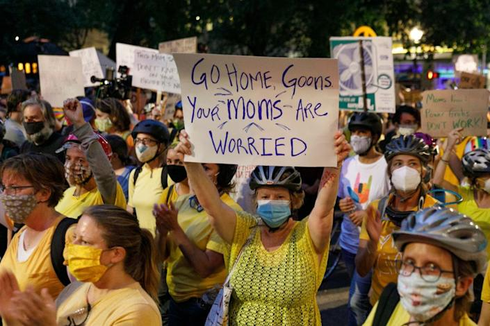 Protesters at the Portland Moms March on Tuesday. (John Rudoff/Anadolu Agency via Getty Images)