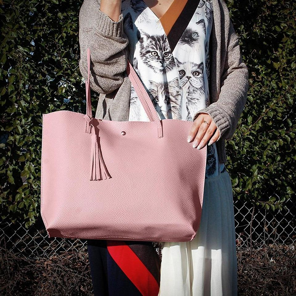 <p>For the mom who is always on the go, this<span> Tassels Large Tote Bag </span> ($15) can carry all her essentials.</p>