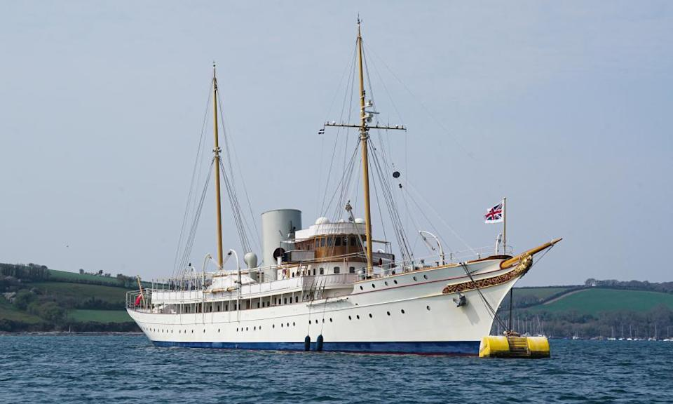The Nahlin, moored off Falmouth, Cornwall, April 2021.