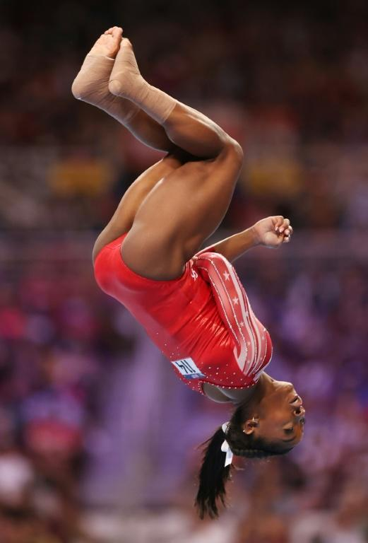 Gravity-defying: Biles competes at the US Olympic trials last month