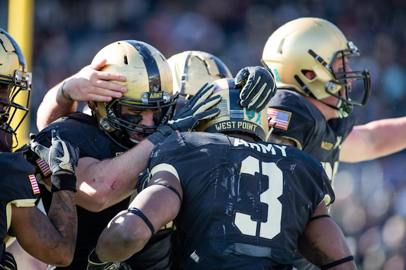 WEST POINT, NY - NOVEMBER 09: Army West Point players celebrates a touchdown during the game between the Army West Point Black Knights against University of Massachusetts Minutemen on November 9, 2019 at Michie Sadium in West Point, New York. (Photo by Nicole Fridling/Icon Sportswire via Getty Images)